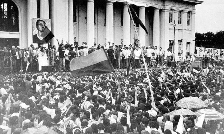 Conmemoración de la Revolución Sandinista. Sandinistas reunidos en la Plaza de la Republica de Nicaragua, celebrando aniversario del triunfo de la revolucion, julio  19 de 1990.  (Foto: La Prensa/Farid Abraham)