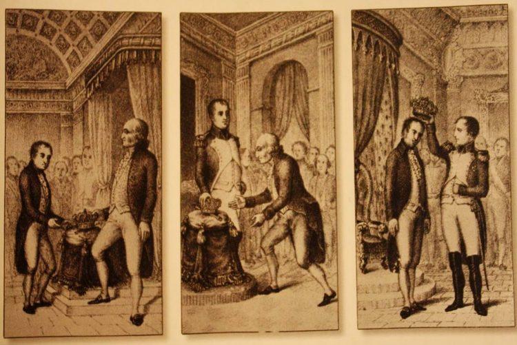 En las abdicaciones de Bayona el rey Fernando VII abdicó su derecho al trono español a favor de su padre Carlos IV, y este a su vez fue obligado a ceder el trono a Napoleón Bonaparte, quien a su vez lo cedió a su hermano José Bonaparte.